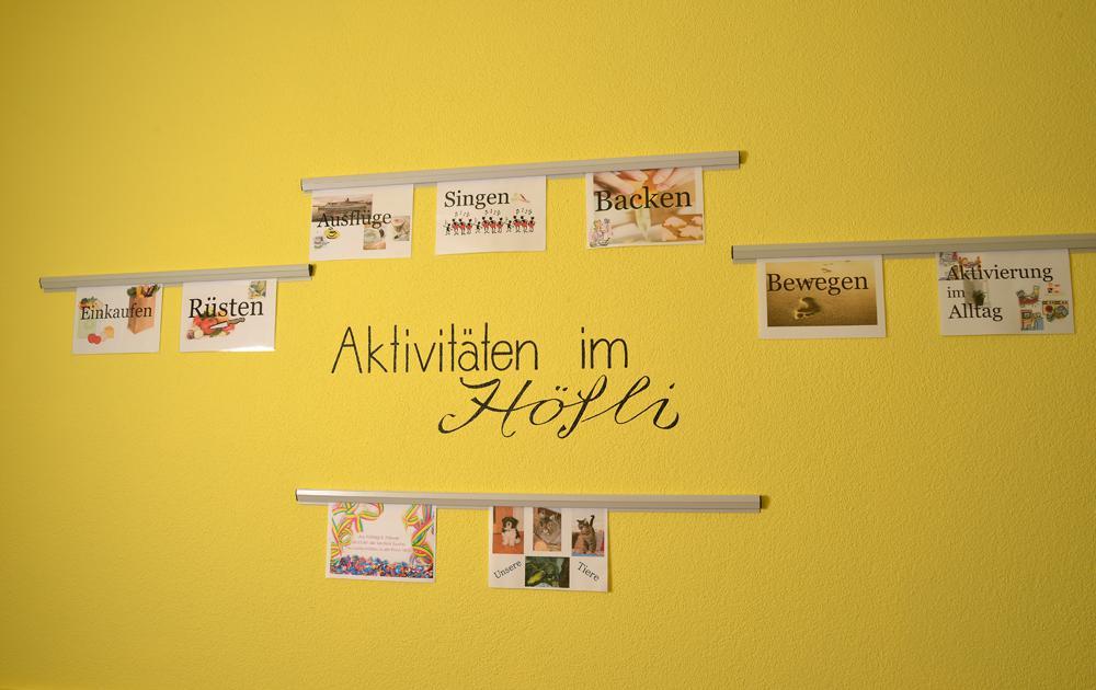 PWG Hoefli unsere Pinwand mit unseren Aktivitäten