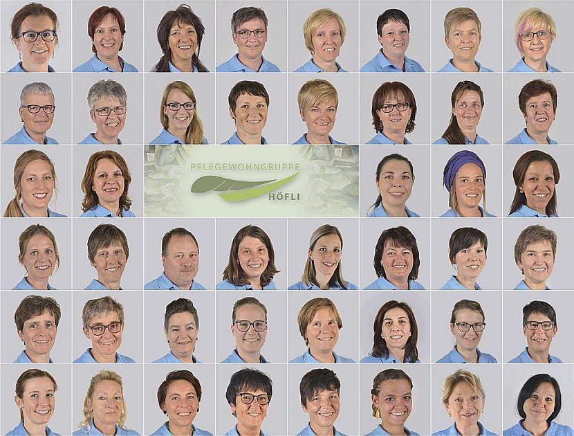 WG Hoefli ueber uns Personal der Pflegewohngruppe Höfli als Gruppenfoto